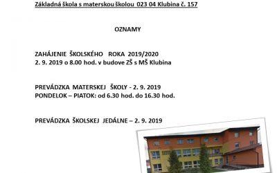 Zahájenie školského roka 2019/2020